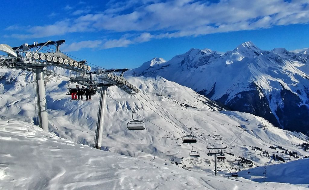 Ski lift for skiers in the mountains