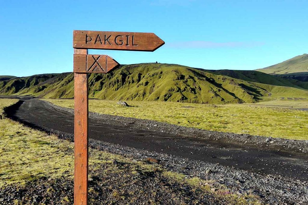 Indication to Pakgil camping in Iceland