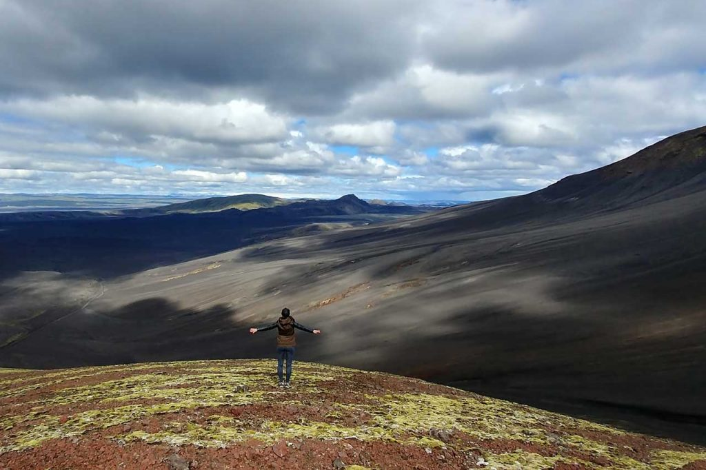 Standing on a crater in Iceland