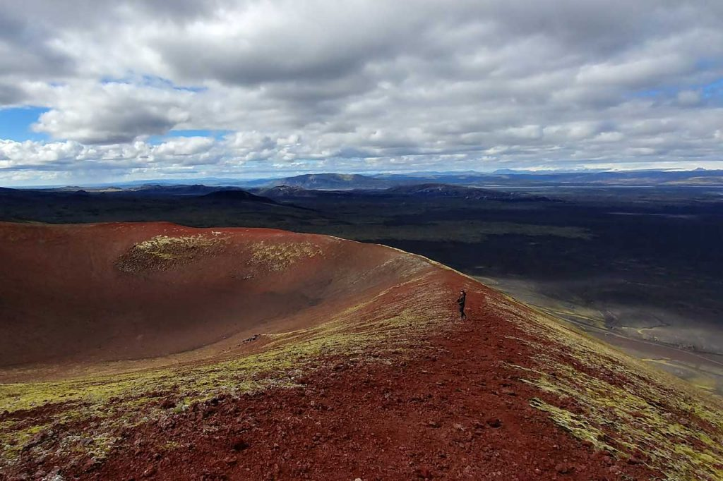 Standing on a volcano's crater in Iceland