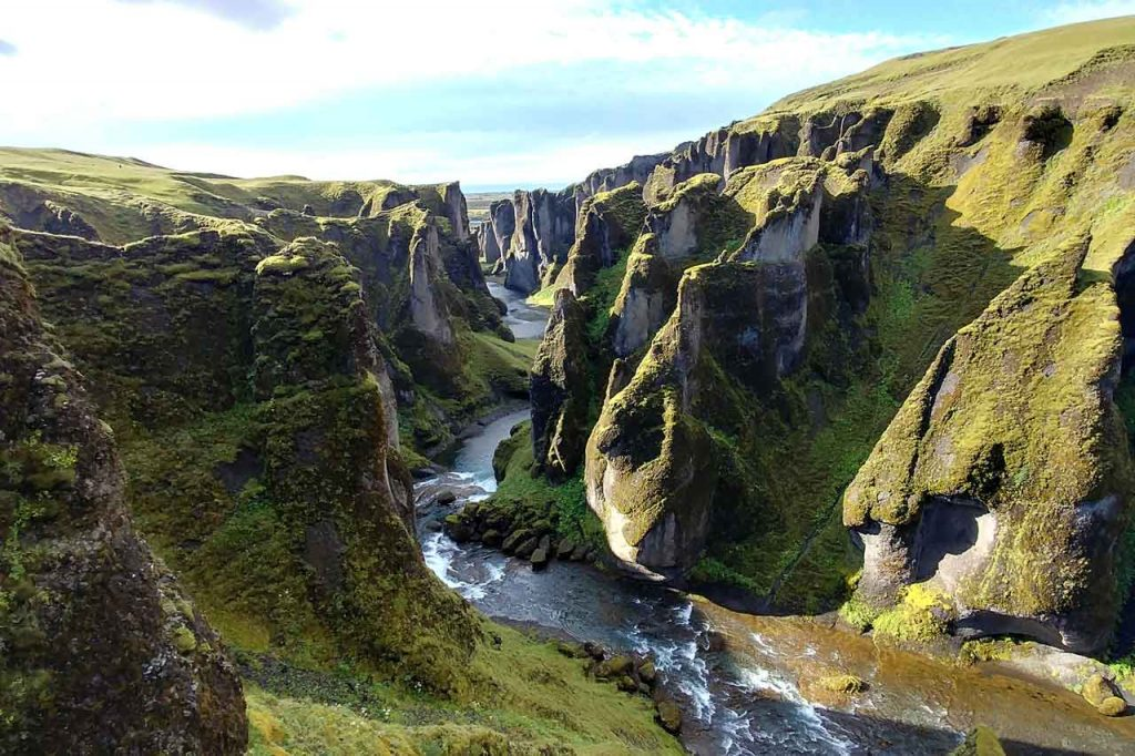 Green canyon in Iceland