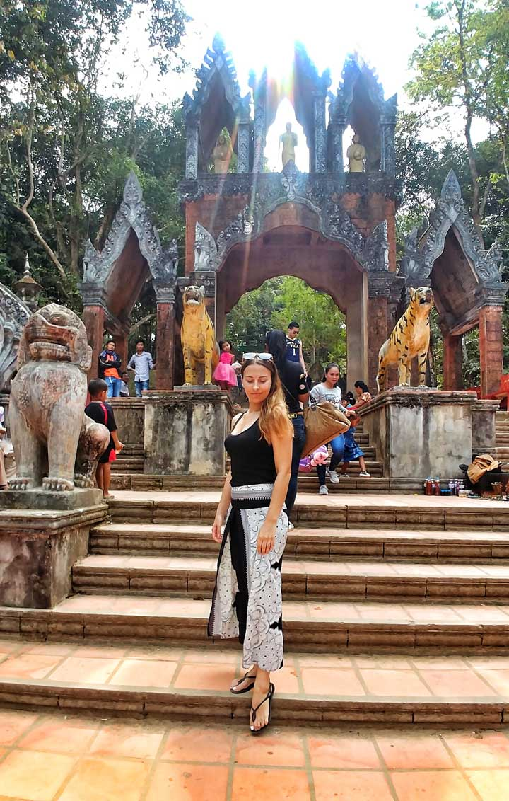 At the entrance to Cambodian pagoda