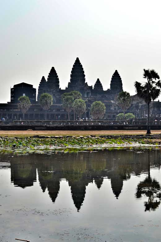 Angkor Wat temple in Cambodia and its reflection in the lake