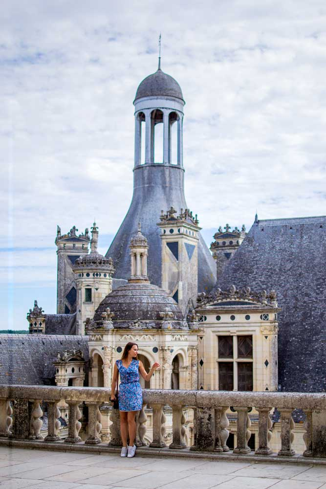 Rooftop in Chambord Castle in the Loire Valley
