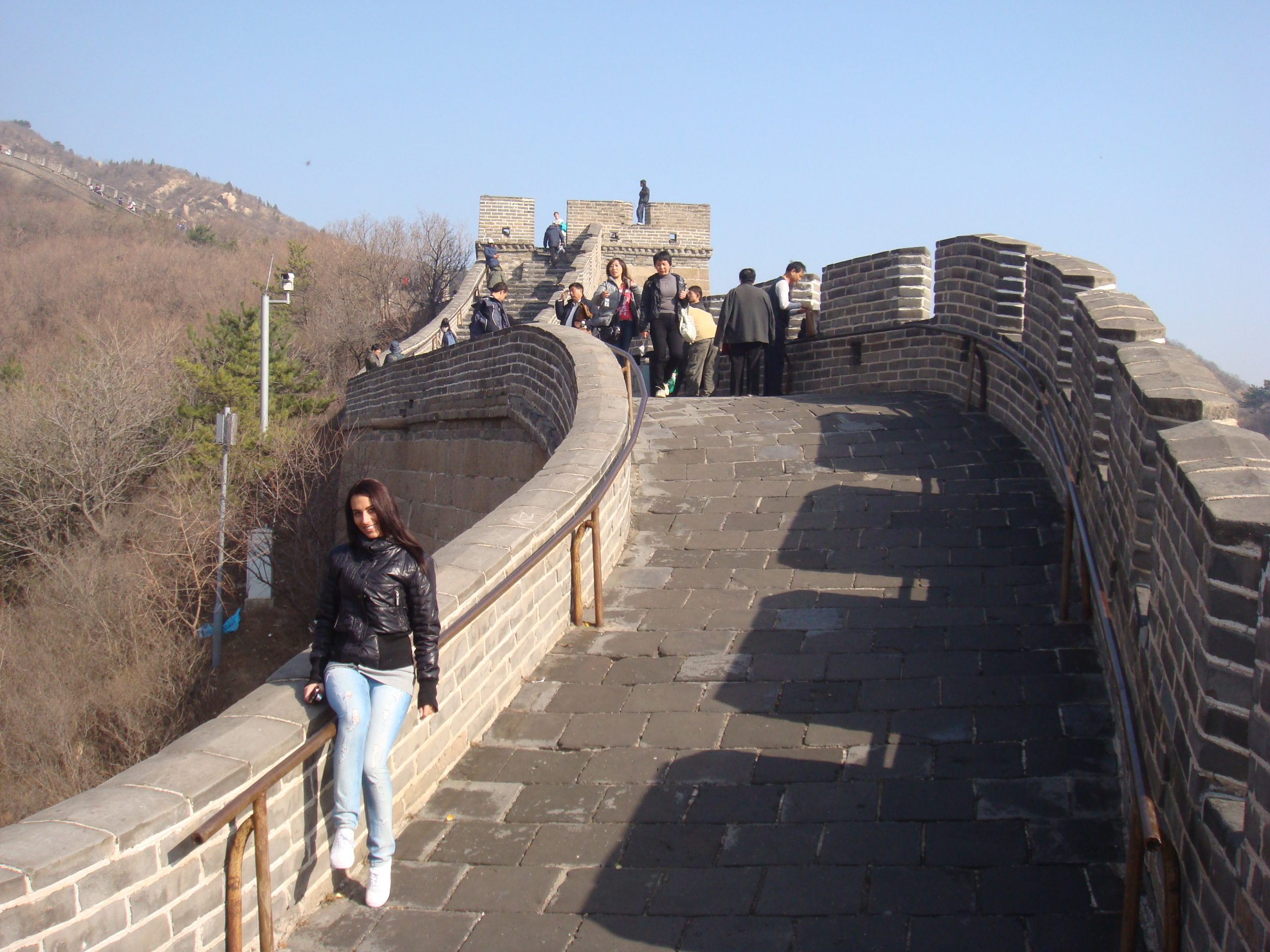 Sitting on the Great Wall of China