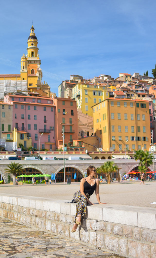Colorful town on the coast of the French Riviera