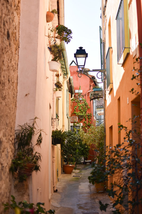 Narrow Street of Menton town on the French Riviera