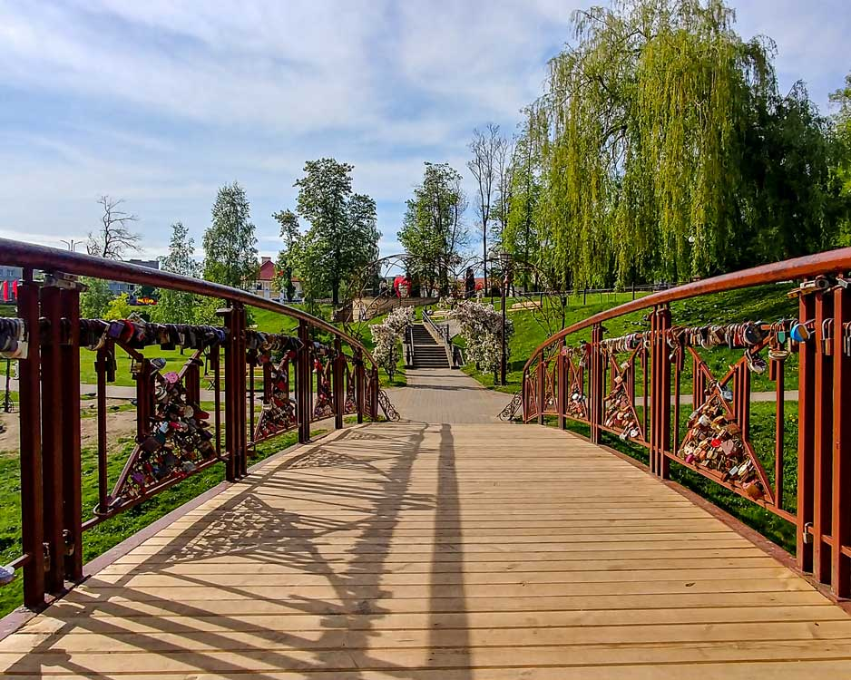 Wooden passage in a parc in Belarus