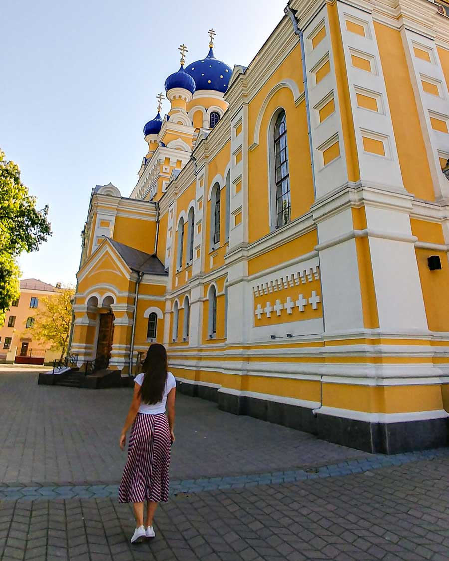 Yellow church with blue domes in Belarus