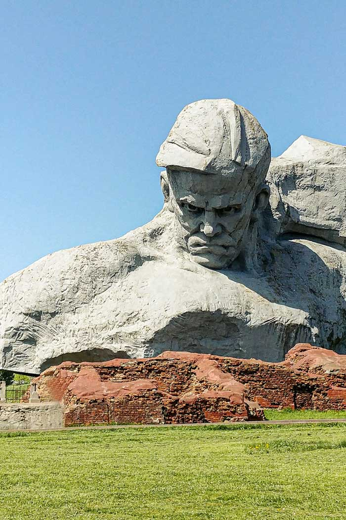 Rock monument of soldier's head in Brest in Belarus