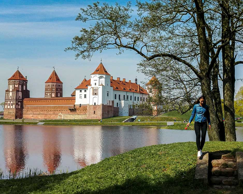 View on Mir Castle and its reflection in the pond