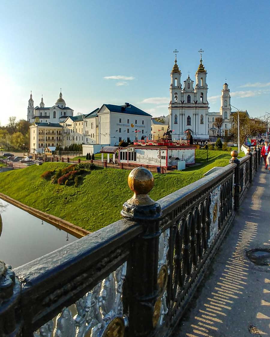 View on the old town from the bridge in belarusian city of Vitebsk