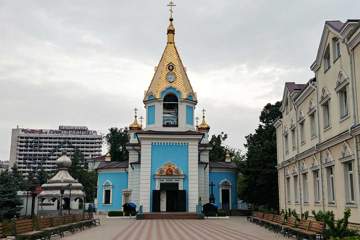 Blue Monastery with golden dome in Chisinau