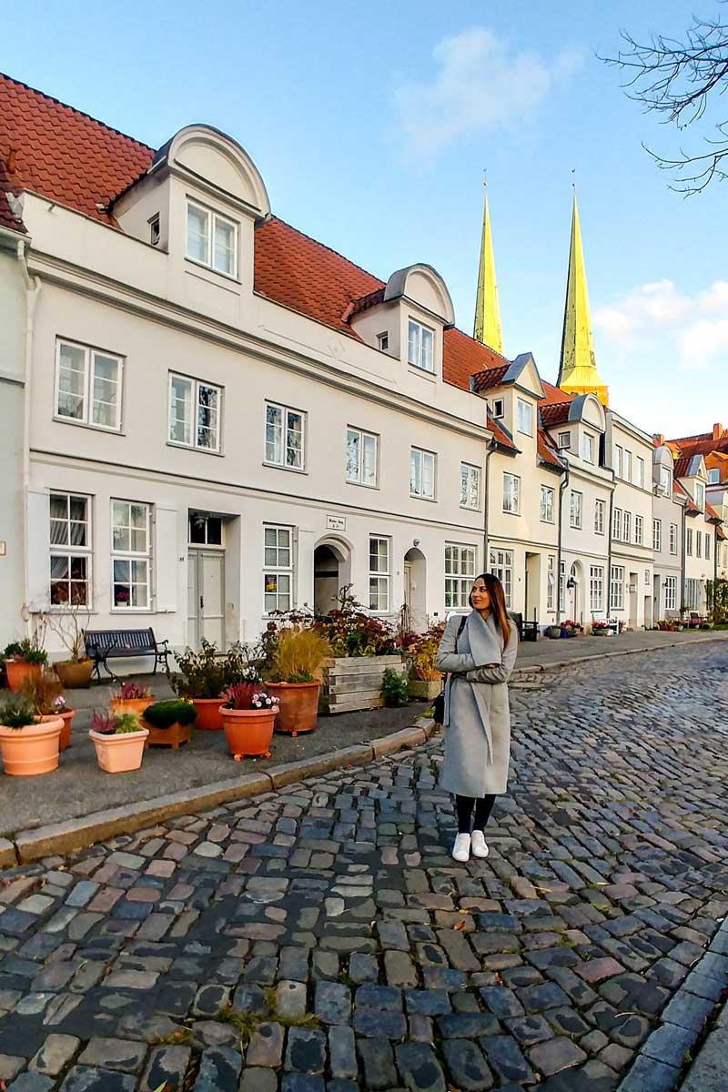 Pedestrian street with white houses in Lubeck