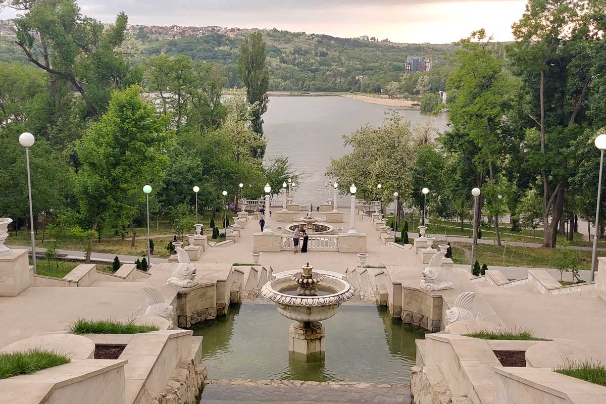 View on a fountain and lake in Valea Morilor park in Chisinau